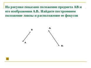 На рисунке показано положение предмета АВ и его изображения А1В1. Найдите постро