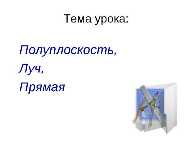Тема урока: Полуплоскость,Полуплоскость, Луч, Прямая