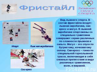 Фристайл Вид лыжного спорта. В состав фристайла входят: лыжная акробатика, ски-к