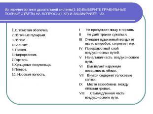 Из перечня органов дыхательной системы(1-10) ВЫБЕРИТЕ ПРАВИЛЬНЫЕ ПОЛНЫЕ ОТВЕТЫ Н