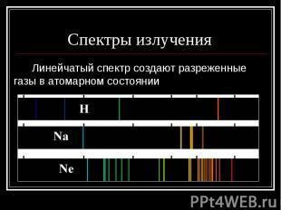 Спектры излучения Линейчатый спектр создают разреженные газы в атомарном состоян