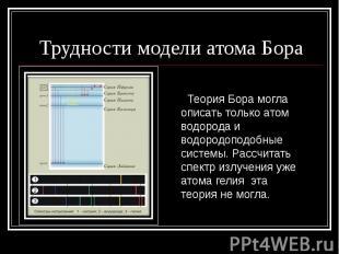 Трудности модели атома Бора Теория Бора могла описать только атом водорода и вод