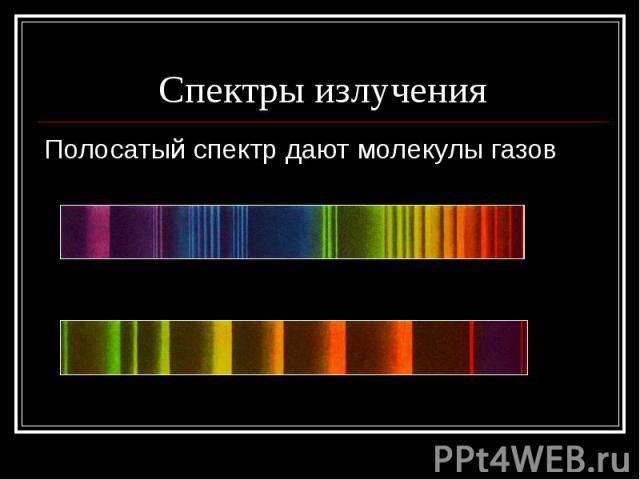 Спектры излученияПолосатый спектр дают молекулы газов