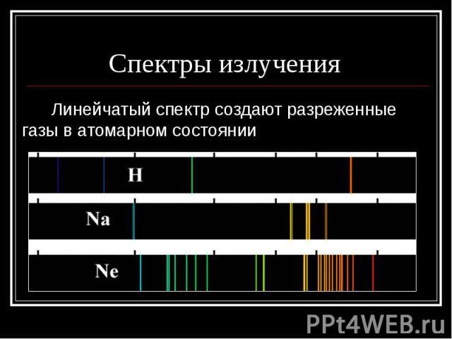 Спектры излучения Линейчатый спектр создают разреженные газы в атомарном состоянии