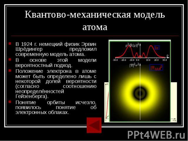 Квантово-механическая модель атома В 1924 г. немецкий физик Эрвин Шрёдингер предложил современную модель атома.В основе этой модели вероятностный подход.Положение электрона в атоме может быть определено лишь с некоторой долей вероятности (согласно с…
