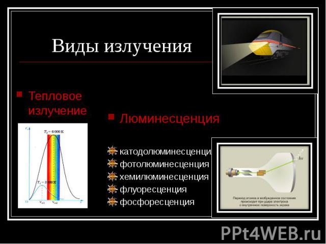 Виды излучения Тепловое излучение Люминесценциякатодолюминесценцияфотолюминесценцияхемилюминесценцияфлуоресценцияфосфоресценция