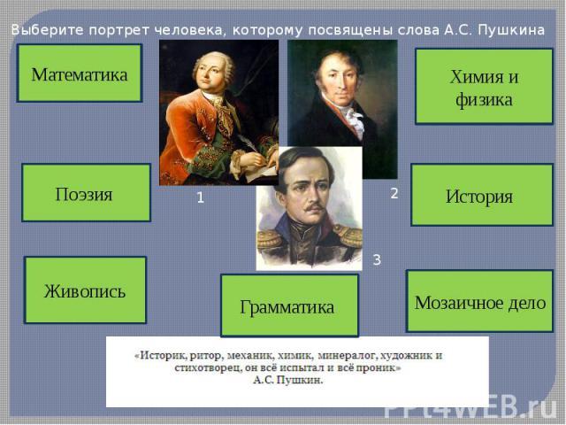 Выберите портрет человека, которому посвящены слова А.С. Пушкина