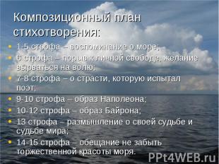 Композиционный план стихотворения: 1-5 строфа – воспоминание о море;6 строфа – п