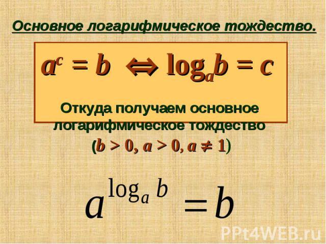 Основное логарифмическое тождество. ac = b logab = c Откуда получаем основное логарифмическое тождество (b > 0, a > 0, a 1)