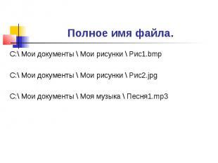 Полное имя файла. С:\ Мои документы \ Мои рисунки \ Рис1.bmpС:\ Мои документы \