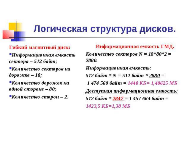 Логическая структура дисков. Гибкий магнитный диск:Информационная емкость сектора – 512 байт;Количество секторов на дорожке – 18;Количество дорожек на одной стороне – 80;Количество сторон – 2. Информационная емкость ГМД.Количество секторов N = 18*80…