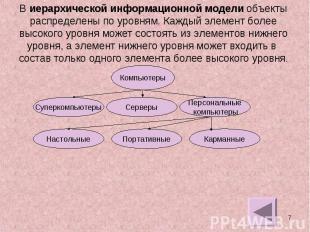 В иерархической информационной модели объектыраспределены по уровням. Каждый эле