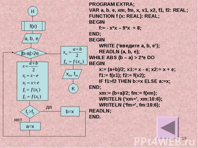 PROGRAM EXTRA;VAR a, b, e, xm, fm, x, x1, x2, f1, f2: REAL;FUNCTION f (x: REAL): REAL;BEGINf:= - x*x – 9*x + 8;END;BEGINWRITE ('введите a, b, e');READLN (a, b, e);WHILE ABS (b – a) > 2*e DOBEGINx:= (a+b)/2; x1:= x - e; x2:= x + e;f1:= f(x1); f2:= f(…