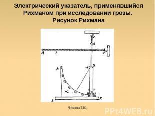 Электрический указатель, применявшийся Рихманом при исследовании грозы. Рисунок