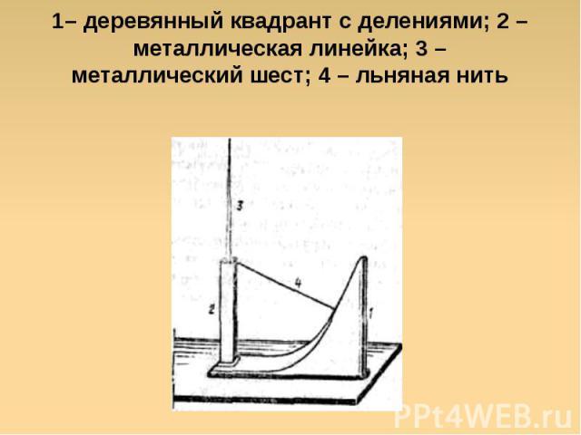 1– деревянный квадрант с делениями; 2 – металлическая линейка; 3 – металлический шест; 4 – льняная нить