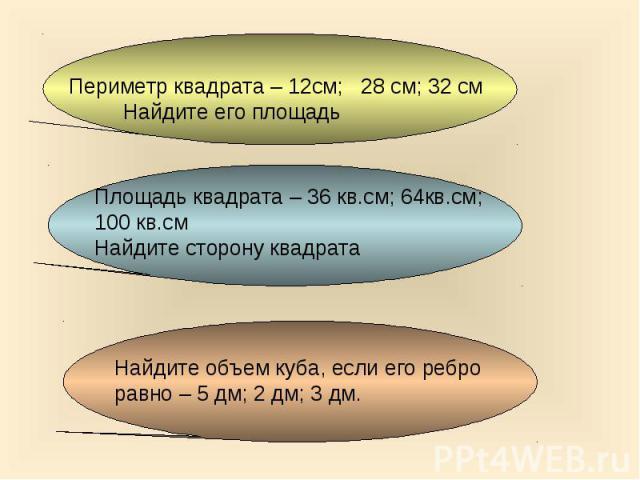 Периметр квадрата – 12см; 28 см; 32 см Найдите его площадь Площадь квадрата – 36 кв.см; 64кв.см;100 кв.смНайдите сторону квадрата Найдите объем куба, если его реброравно – 5 дм; 2 дм; 3 дм.