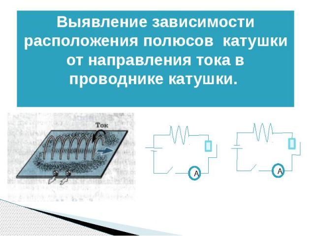 Выявление зависимости расположения полюсов катушки от направления тока в проводнике катушки.