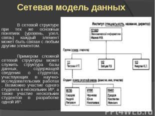 Сетевая модель данных В сетевой структуре при тех же основных понятиях (уровень,