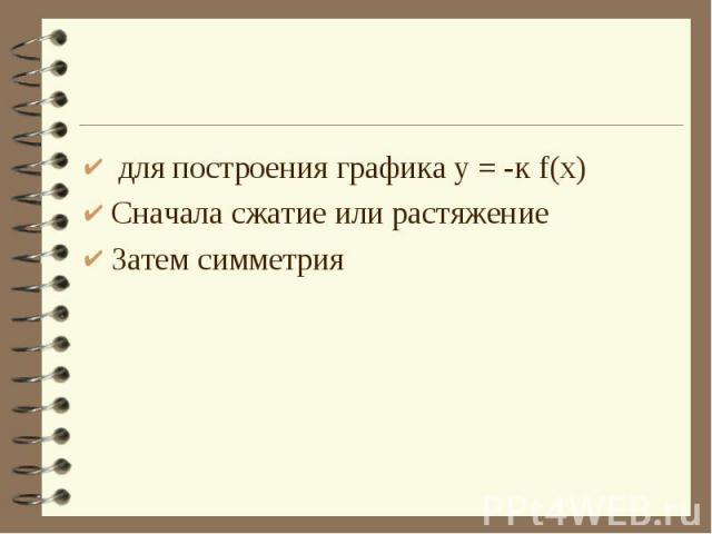 для построения графика у = -к f(х)Сначала сжатие или растяжениеЗатем симметрия