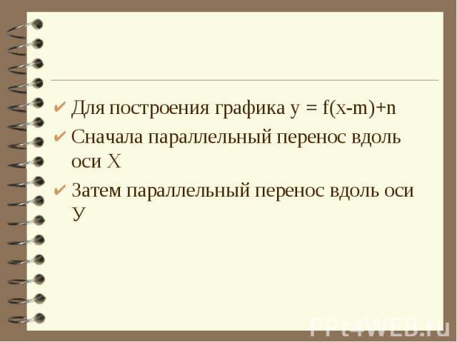 Для построения графика у = f(x-m)+nСначала параллельный перенос вдоль оси ХЗатем параллельный перенос вдоль оси У