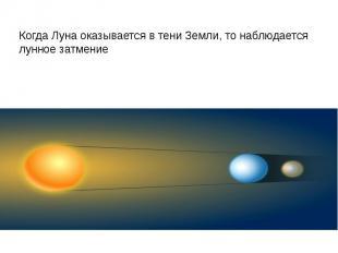 Когда Луна оказывается в тени Земли, то наблюдается лунное затмение