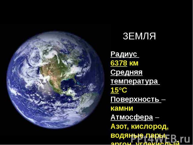 Радиус 6378 кмСредняя температура 15°СПоверхность – камниАтмосфера – Азот, кислород, водяные пары, аргон, углекислый газ