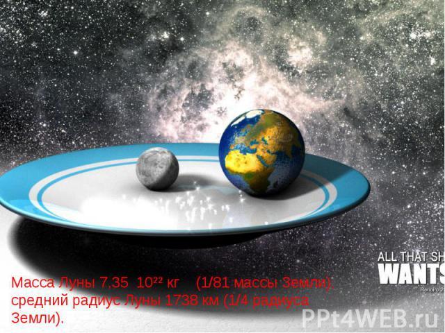 Масса Луны 7,35 10²² кг (1/81 массы Земли), средний радиус Луны 1738 км (1/4 радиуса Земли).