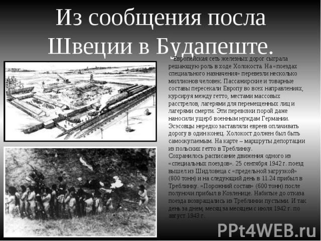 Из сообщения посла Швеции в Будапеште. Европейская сеть железных дорог сыграла решающую роль в ходе Холокоста. На «поездах специального назначения» перевезли несколько миллионов человек. Пассажирские и товарные составы пересекали Европу во всех напр…