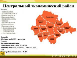 Центральный экономический район Состав:1.Брянская область2.Владимирская облас