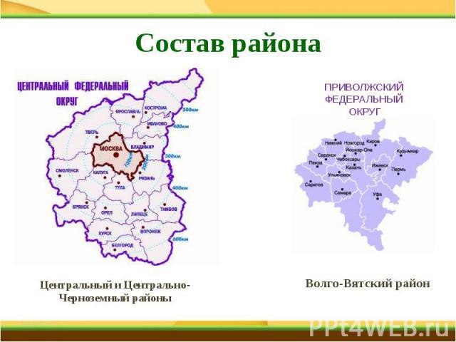 Состав района Центральный и Центрально-Черноземный районы Центральный и Центрально-Черноземный районы