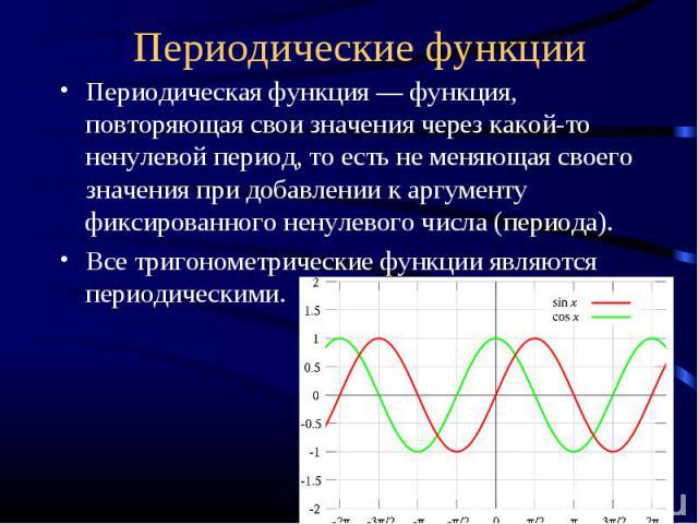 Периодическая функция ― функция, повторяющая свои значения через какой-то ненулевой период, то есть не меняющая своего значения при добавлении к аргументу фиксированного ненулевого числа (периода).Все тригонометрические функции являются периодическими.