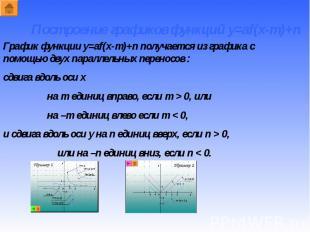 График функции y=af(x-m)+n получается из графика с помощью двух параллельных пер