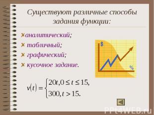 Существуют различные способы задания функции:аналитический; табличный; графическ