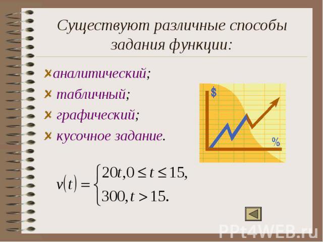 Существуют различные способы задания функции:аналитический; табличный; графический; кусочное задание.