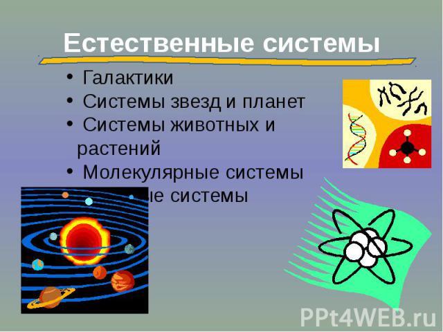 Естественные системы Галактики Системы звезд и планет Системы животных и растений Молекулярные системы Атомные системы
