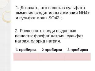 1. Доказать, что в состав сульфата аммония входят ионы аммония NH4+ и сульфат-ио