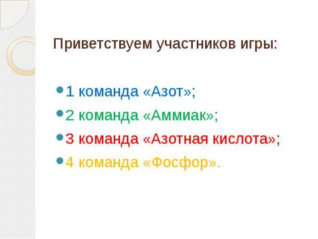 Приветствуем участников игры:1 команда «Азот»; 2 команда «Аммиак»; 3 команда «Азотная кислота»; 4 команда «Фосфор».