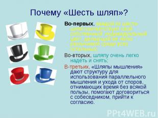 Почему «Шесть шляп»? Во-первых, каждой из шести шляп соответствует свой собствен