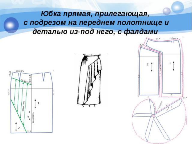 Юбка прямая, прилегающая, с подрезом на переднем полотнище и деталью из-под него, с фалдами