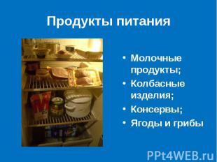 Продукты питания Молочные продукты;Колбасные изделия;Консервы;Ягоды и грибы