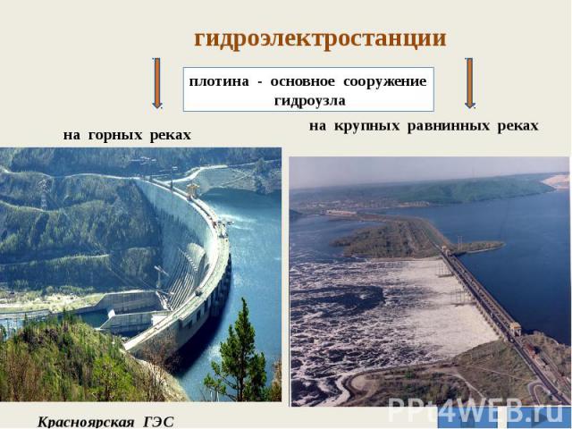 гидроэлектростанции плотина - основное сооружение гидроузла на крупных равнинных реках на горных реках