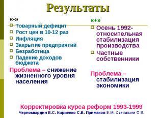 «-»Товарный дефицитРост цен в 10-12 разИнфляцияЗакрытие предприятийБезработицаПа