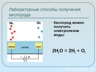 Лабораторные способы получения кислорода Кислород можно получить электролизом во