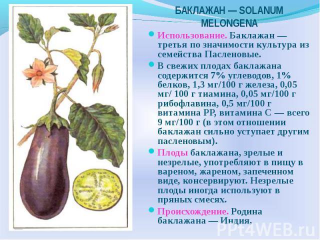 Использование. Баклажан — третья по значимости культура из семейства Пасленовые. В свежих плодах баклажана содержится 7% углеводов, 1% белков, 1,3 мг/100 г железа, 0,05 мг/ 100 г тиамина, 0,05 мг/100 г рибофлавина, 0,5 мг/100 г витамина РР, витамина…