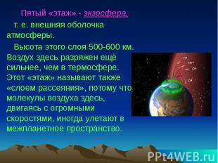 Пятый «этаж» - экзосфера, т. е. внешняя оболочка атмосферы. Высота этого слоя 50