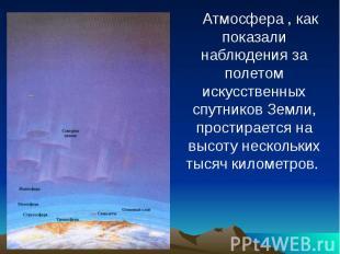 Атмосфера , как показали наблюдения за полетом искусственных спутников Земли, пр
