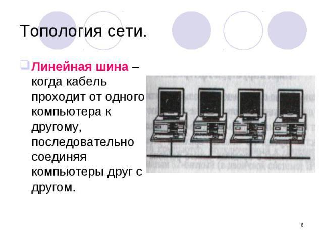 Линейная шина – когда кабель проходит от одного компьютера к другому, последовательно соединяя компьютеры друг с другом.