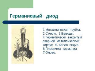 Германиевый диод 1.Металлическая трубка. 2.Стекло. 3.Выводы. 4.Герметически закр