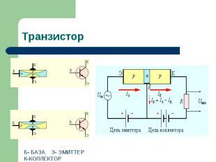 Транзистор Б- БАЗА. Э- ЭМИТТЕРК-КОЛЛЕКТОР