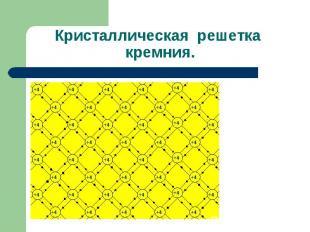 Кристаллическая решетка кремния.